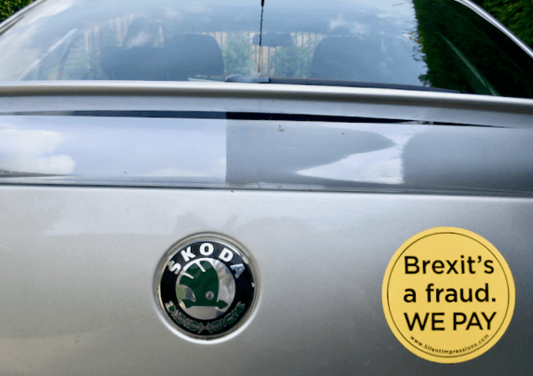 """""""Brexit's a Fraud. WE PAY"""" Car Sticker"""