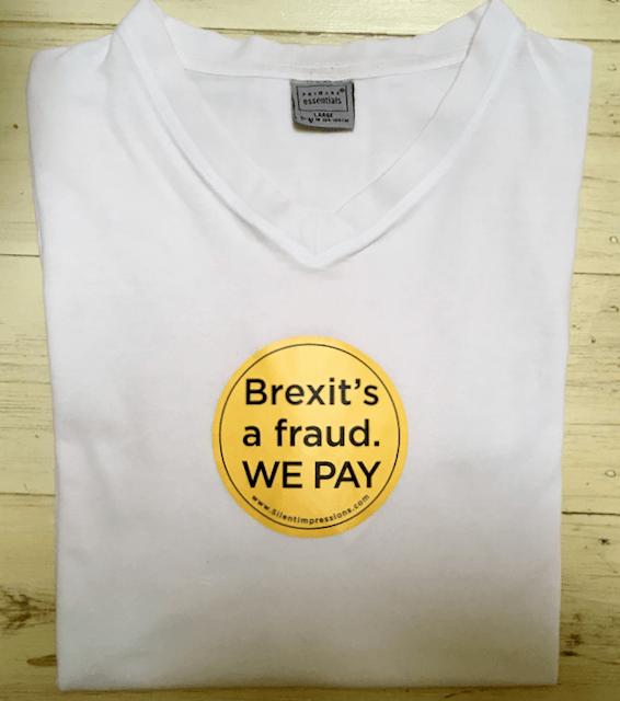 """Brexit's a Fraud."" Car Sticker on tea-shirt"